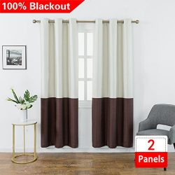 Jinlei 100% Blackout Curtains Room Darkening Curtains – Thermal Insulated Drapes Faux Silk ...