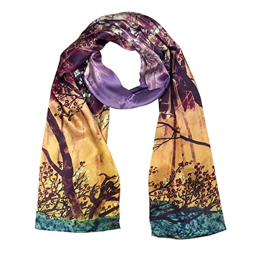 Wrapables Luxurious 100% Charmeuse Silk Long Scarf with Hand Rolled Edges, The Clearing