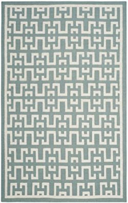 Safavieh Dhurries Collection DHU621A Hand Woven Seafoam and Ivory Premium Wool Area Rug (6&#8242 ...