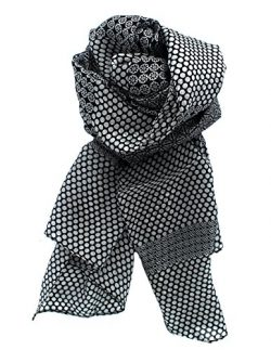 Z&HTrends Womens Genuine Silk Scarf (Small, Floral Polka Dots Black)