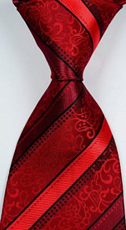 Jacob AleX #47062 Novelty Striped Red Black JACQUARD WOVEN Silk Men's Tie Necktie FG3