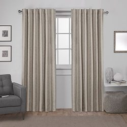 Exclusive Home Zeus Solid Textured Jacquard Blackout Window Curtain Panel Pair with Back Tab Top ...