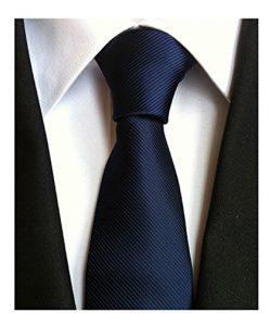 Men's Classic Navy Blue Stripe Tie Jacquard Woven Silk Tie Necktie + Gift Box