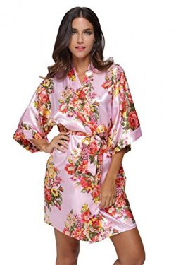 CostumeDeals KimonoDeals Women's dept Satin Short Floral Kimono Robe for Wedding Party, Pink M