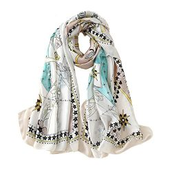 100% Silk Scarf Summer Women's Fashion Printed Large Headscarf Lady's Lightweight Fl ...
