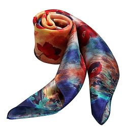 100% Silk Scarf Neckerchief Small Square Print Scarves Women (Oil Painting Tulips Blue Orange)