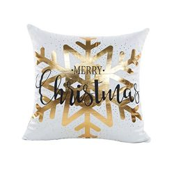 Zulmaliu Merry Christmas Gold Foil Printing 18 x 18 Pillowcases (Color D)