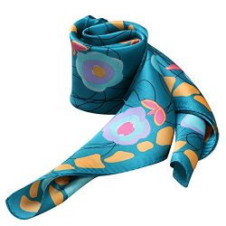 100% Silk Scarf Neckerchief Small Square Print Scarves Women (Graffiti and Flower Dark Green)