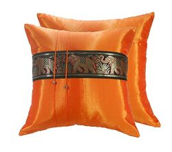 2 Covers Elephant Pillow Cushion Thai Silk Decorative Decor Case Ethnic Sofa (Orange Color)