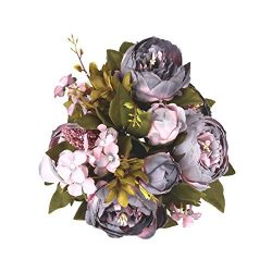 Shengyuan Artificial Flowers Fake Silk Peony Flower Bouquet Floral Plants Decor for Home Garden  ...