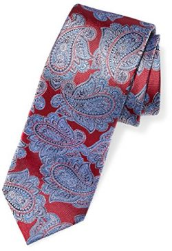 Buttoned Down Men's Classic Silk 3″ Necktie, Dark Red/Blue Paisley, Regular
