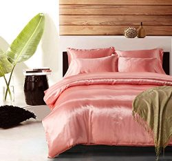 Pink Bedding Silk Like Satin Duvet Cover Set Coral Quilt Cover Coral Pink Bedding Set Queen(90&# ...