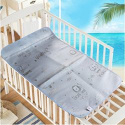Baby Summer Sleeping Mat Breathable Safe Cool Bamboo Silk Flat Mattress Pads Toddler Infant Fold ...