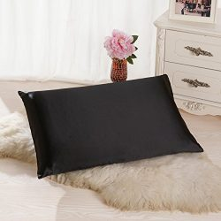 ALASKA BEAR Luxurious 25 momme Silk Pillowcase, 100% Mulberry Silk Pillow Case Cover, King(1, Black)