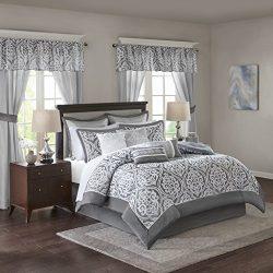 Madison Park Essentials Jordan King Size Bed Comforter Set Room In A Bag – Grey, Jacquard  ...