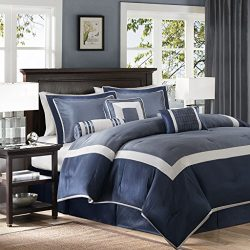 Madison Park Genevieve Queen Size Bed Comforter Set Bed In A Bag – Navy, Pieced – 7 Pieces ...