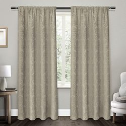 Exclusive Home Damask Medallion Heavyweight Chenille Jacquard Room Darkening Rod Pocket Window C ...
