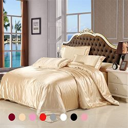 Silky Duvet Cover Set Queen Size 3 Piece with 1 Additional Flat Sheet Silk Like Feeling Lightwei ...