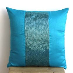 The HomeCentric Handmade Blue Pillows Cover, Modern Pillows Cover, 12″x12″ Cushion C ...