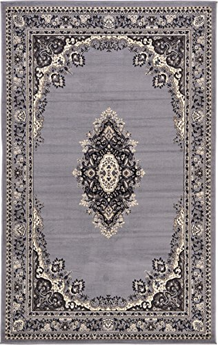 A2Z Rug Traditional Gray 5′ x 8′ Mashad Collection Area rug Perfect for any floor &a ...
