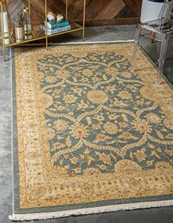 Unique Loom Edinburgh Collection Oriental Traditional French Country Blue Area Rug (9′ x 1 ...