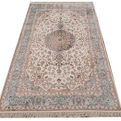 Yilong Carpet 5′ x 8′ Hand Knotted Silk Carpet Oriental Nain Persian Classic Medalli ...