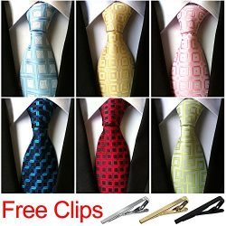 Jeatonge Lot 6 Pcs Mens Ties and 3 Free Tie Clips, Men's Classic Tie Necktie Woven Jacquar ...