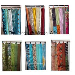 India Old Sari Multicolor Curtain Door Drape 6 Pieces Lot ( Assorted )