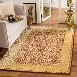 Safavieh Silk Road Collection SKR213G Handmade Maroon and Ivory New Zealand Wool Area Rug (2&#82 ...