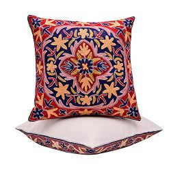 BluSpirits Silk Square Cushion Cases Hand embroidered various designs Pillow Cover (16″ x  ...