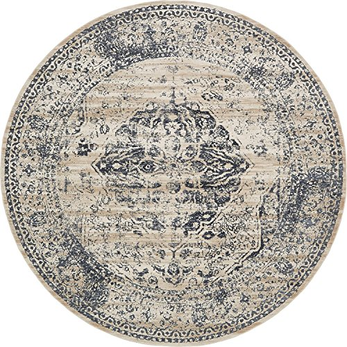 Unique Loom Windsor Collection Distressed Vintage Traditional Textured Dark Blue Round Rug (8 ...