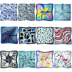 LilMents 12 Mixed Designs Small Square Satin Womens Neck Head Scarf Scarves Bundle Lot Set (Set P)