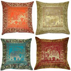 ANJANIYA Set of 4 16×16 inch (40×40 cm) Elephant Banarsi Silk Indian Ethnic Bohemian D ...