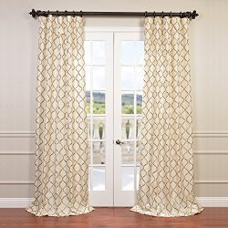 Half Price Drapes EFSCH-14081B-108 Embroidered Faux Silk Taffeta Curtain, Tunisia Ivory
