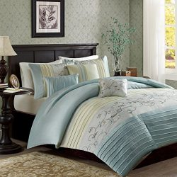 Madison Park Serene Duvet Cover King/Cal King Size – Aqua, Embroidered Duvet Cover Set – 6 ...