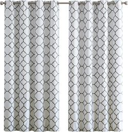 HLC.ME Trellis Print Faux Silk 100% Blackout Thermal Room Darkening Window Curtain Grommet Panel ...