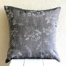 Decorative 22×22 inches Pillow Covers Charcoal Grey, Willow Design Zardozi Embroidered Pill ...