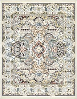 Unique Loom Narenj Collection Classic Traditional Medallion Textured Ivory Area Rug (8′ x  ...
