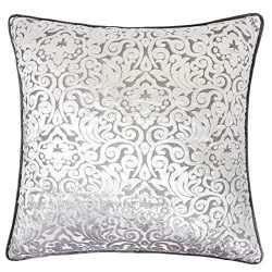 Homey Cozy Modern Velvet Throw Pillow Cover,Pewter Silver Luxury Elegant Floral Soft Fuzzy Cozy  ...