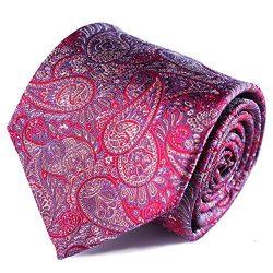 Qobod Silk Necktie Handmade Tie Mens Gift Boxes paisley red pattern