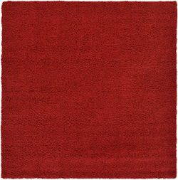 Unique Loom Serenity Solid Shag Collection Super Soft Micro Polyester Cherry Red Home Décor Squa ...