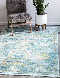 Unique Loom 3139546 Area Rug, 8′ x 10′, Light Blue