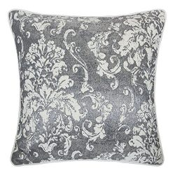 Homey Cozy Chenille Jacquard Throw Pillow Cover,Gray Series Retro Damask Floral Soft Fuzzy Warm  ...
