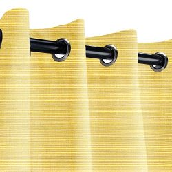 Sunbrella Dupione Cornsilk Outdoor Curtain with Nickel Grommets 50 in. Wide x 96 in. Long