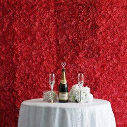 Efavormart 4 PCS Red Silk Hydrangea Flower Mat Wall Wedding Event Decor for DIY Centerpiece Arra ...