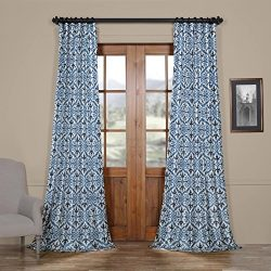 HPD HALF PRICE DRAPES Ptpch-170802A-108 Iron Gate Faux Silk Taffeta Blackout Curtain, 50 x 108, Blue