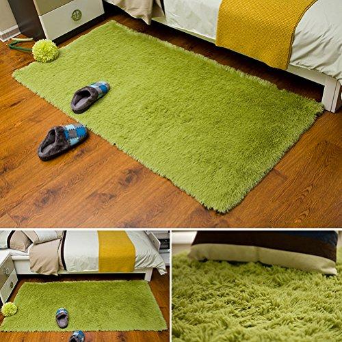 ZI LIN SHOP- Thickened Washable Silk Bedroom Carpet Floor Mats Bay Window Mats rug ( Color : Gre ...