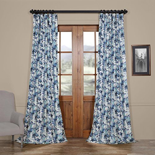 HPD HALF PRICE DRAPES Ptpch-170801-108 Watercolor Faux Silk Taffeta Blackout Curtain, 50 x 108,  ...