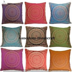 Indian Handmade Decorative Silk Brocade Traditional Home & Living Room Decor Vintage Pillowc ...