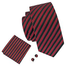 Barry.Wang Mens Ties Classic Stripe Tie Set for Men Silk Woven Hanky Cufflinks (Green Stripe)